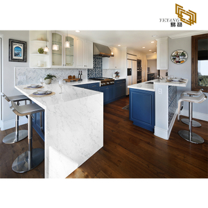 Cloudy vein grey white artificial quartz countertop kitchen backsplash tile D2017