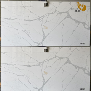 Polished calacatta quartz design kitchen countertop bathroom vanity tiles B4013
