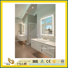 White Artificial Stone Quartz Vanity Top for Home & Hotel Bathroom