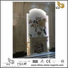 White & Golden Marble Stone Background Design (YQW-MB081509)