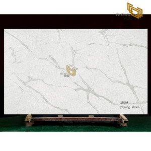 Grey vein white quartz slabs tiles for kitchen countertop(A5005)