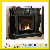 Black Marble Fireplace Mantel with Sculpture Carved (YQA)
