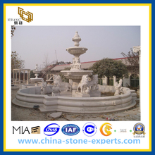 White Marble Stone Garden Water Fountain with Ladies and Lions(YQG-CS1044)