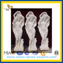 White Polished Honed Marble Stone Sculpture for Garden