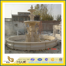 Beige Marble Stone Dolphin Water Fountain (YQA-F1002)