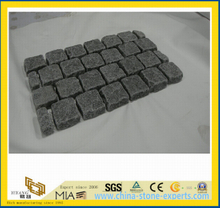 G654 Dark Grey Granite Garden Paving Stone /Cobblestone on Mesh-Yya