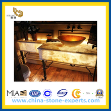 Cheap Yellow Wood Grain Marble Countertop (YQA-GC)