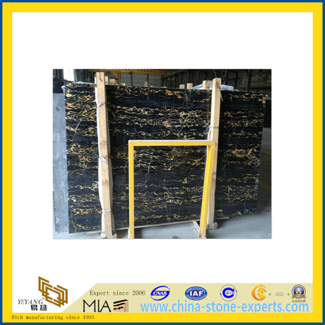 Polished Natural Black Portoro Marble Slabs for Countertop/Vanitytop (YQC)
