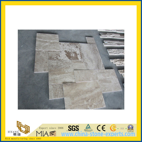 Natural Polished Coffee Travertine Marble Tile for Wall/Flooring (YQC)