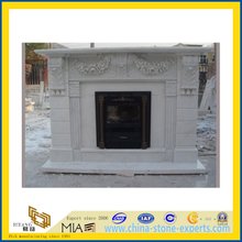 Carved Hunan White Marble Stone Fireplace(YQG-F1009)