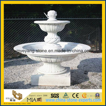 Hand Carving White Marble Water Fountain for Outdoor Garden