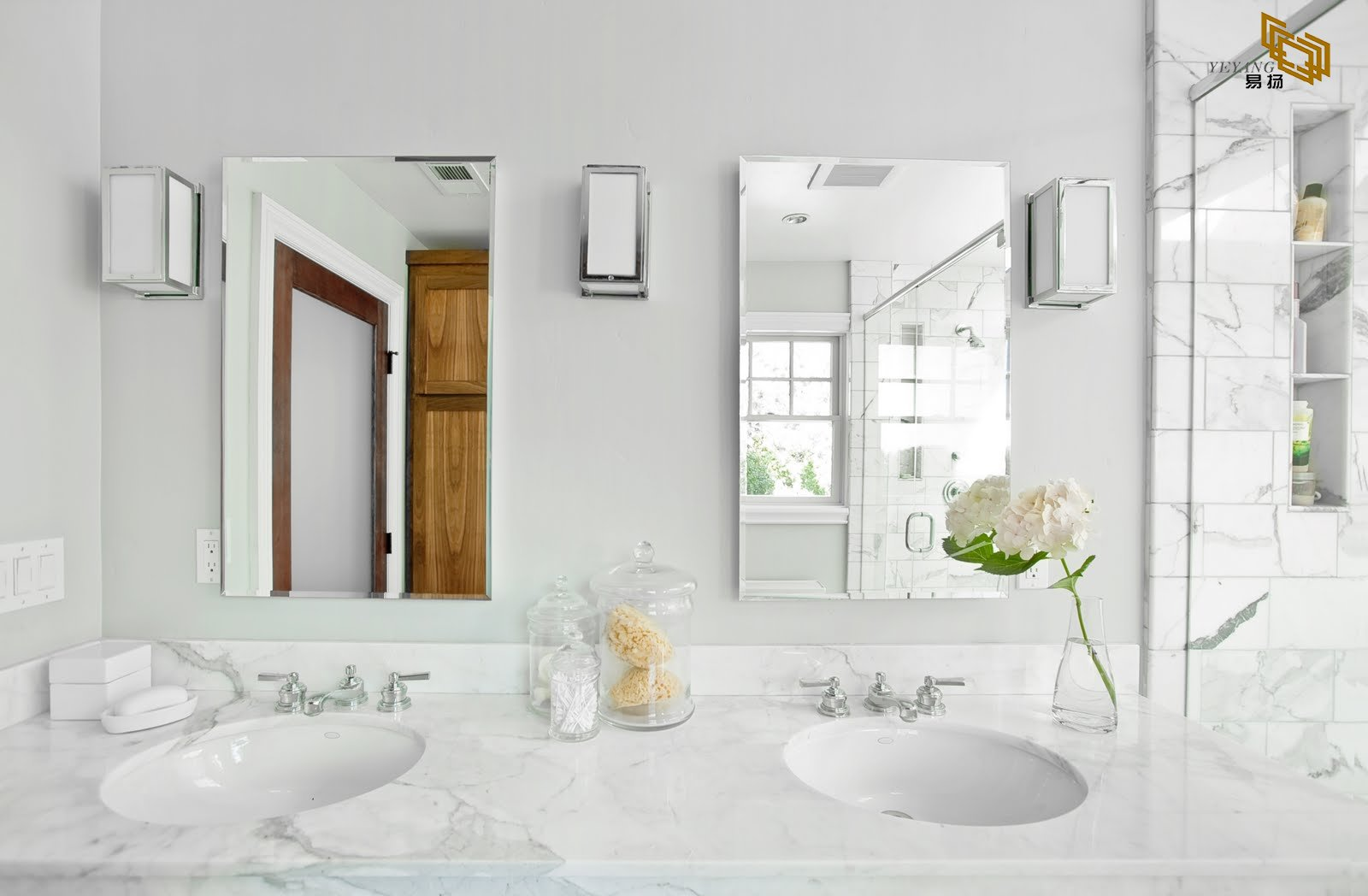 White Carrara Marble Bathroom Vanity Tops With Faucet And Ceramic Sinks Yqw 110029c